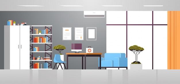 Il gabinetto moderno di medico con mobilia non svuota orizzontale orizzontale piano interno della stanza dell'ufficio dell'ospedale della gente