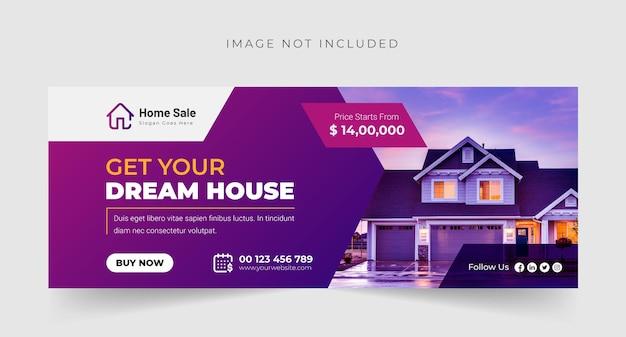 Modern dream home o real estate copertina facebook o banner design premium vector