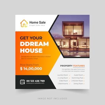 Modern dream home o real estate post o banner template vettore premium