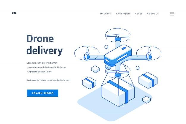Pagina di destinazione del servizio di consegna di droni moderni