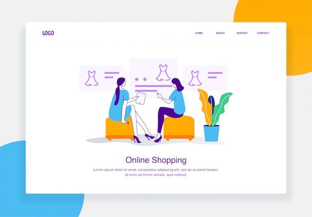 Un concetto moderno dell'illustrazione di commercio elettronico di due donne sta scegliendo il vestito dall'acquisto online del catalogo per il modello della pagina di atterraggio