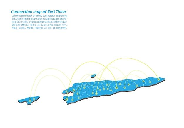 Moderno di east timor map design della rete di connessioni
