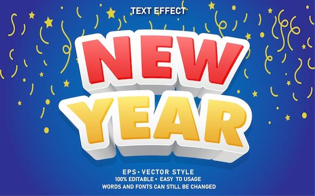 Nuovo anno di stile di testo modificabile moderno effetto