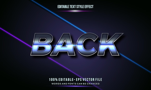 Moderno stile di testo modificabile effetto cromo lucido blu.