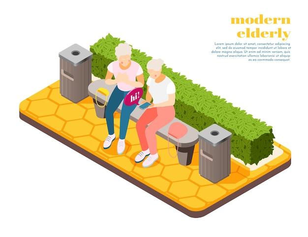 Composizione isometrica di persone anziane moderne con due donne sedute su una panchina che imparano a inviare sms