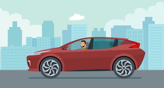 Moderna auto elettrica con un'illustrazione di stile piatto giovane conducente