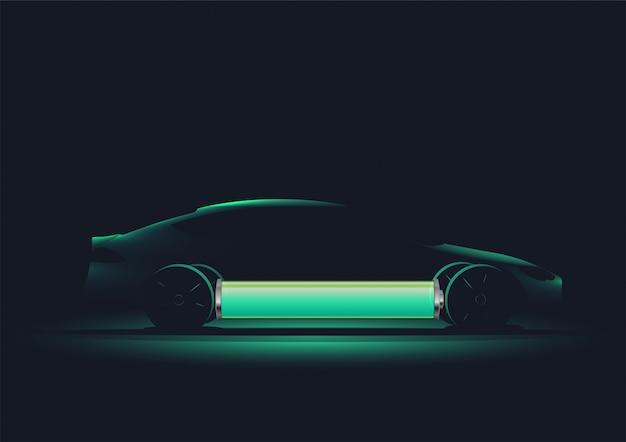 Silhouette moderna auto elettrica con batteria carica. .