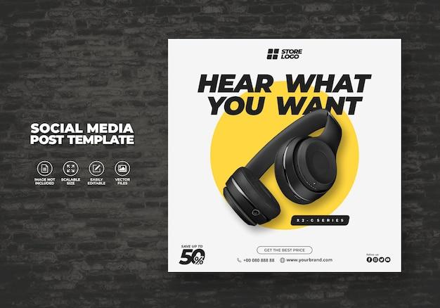 Moderno ed elegante cuffie senza fili di colore nero prodotto di marca per i social media modello banner