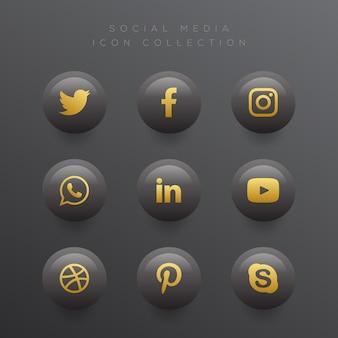 Set di icone social media nero elegante moderno