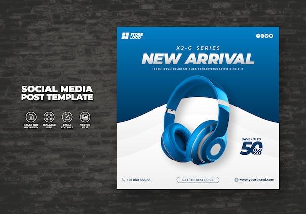Moderno ed elegante cuffie senza fili di colore blu prodotto di marca per i social media modello banner