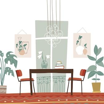 Interiore moderno ed elegante della sala da pranzo con tavolo e sedie dipinti finestra francese grandi piante d'appartamento illustrazione piatto stile boho