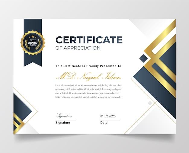 Modello di certificato d'oro moderno ed elegante con distintivo.