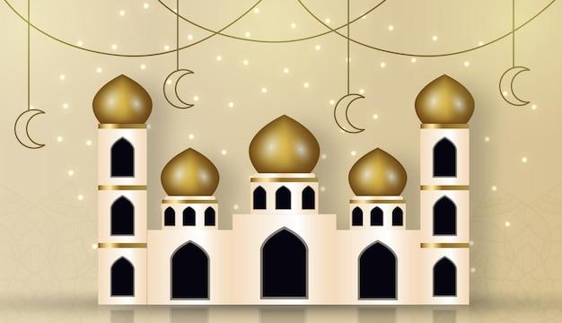 Moschea islamica moderna ed elegante che costruisce sfondo islamico