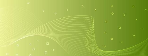 Moderne ed eleganti linee d'onda curvano cerchi astratti quadrati giallo verde verde