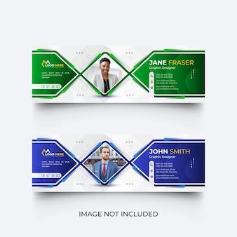 Firma e-mail moderna e set di modelli di copertina dei social media