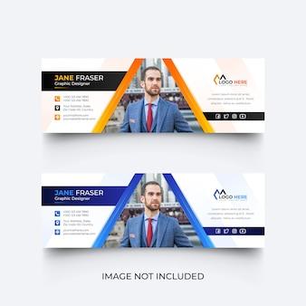 Modello di firma e-mail moderno o piè di pagina e-mail set di design