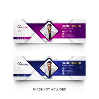 Modello moderno di firma e-mail o piè di pagina e-mail e set di modelli di copertina dei social media