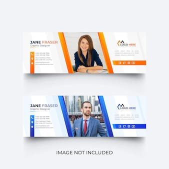 Modello di firma e-mail moderno o set di modelli di piè di pagina e-mail