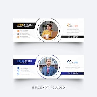 Modello di firma e-mail moderno o set di modelli di piè di pagina e-mail Vettore Premium