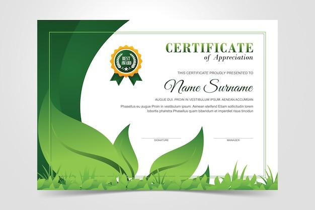 Modello di certificato ambientale moderno