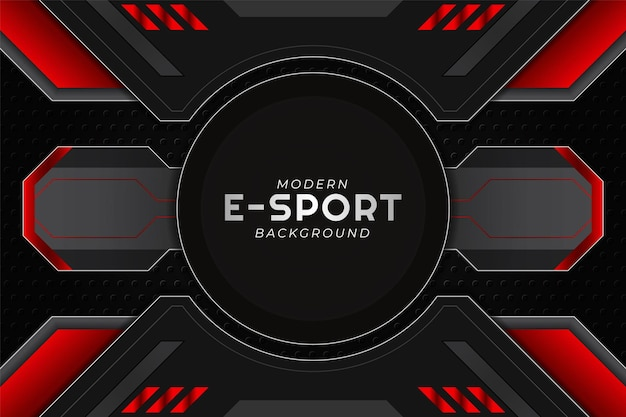 Striscione da gioco moderno esport cerchio rosso con sfondo scuro
