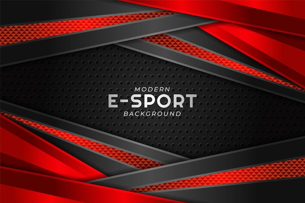 Banner di gioco moderno esport strato sovrapposto diagonale rosso con sfondo scuro
