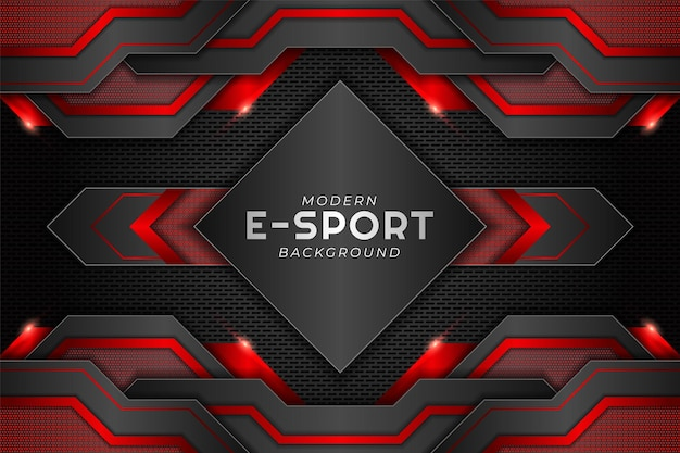 Striscione da gioco moderno esport rosso lucido metallizzato con sfondo scuro