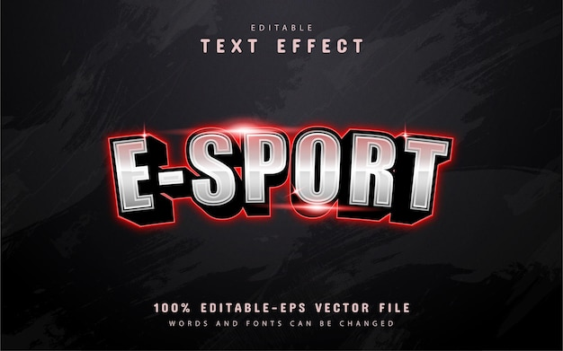 Effetto di testo esport moderno con luce rossa