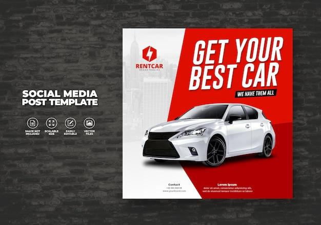 Modello di vettore post banner moderno esclusivo elegante e acquista auto per i social media