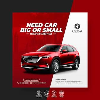 Esclusivo moderno ma e noleggio auto per social media modello vettoriale post banner
