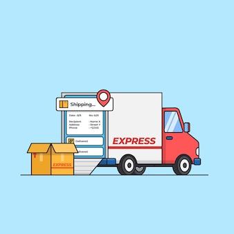 Trasporto di spedizione moderno con consegna espressa con illustrazione dell'app mobile tracker di posizione