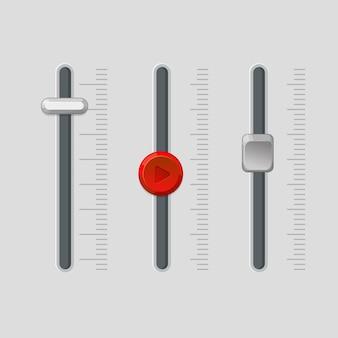Pannello fader moderno con pulsanti rotondi e quadrati regolatori vicino alle scale. le impostazioni del volume della musica o dell'intensità della luce controllano l'apparecchiatura.