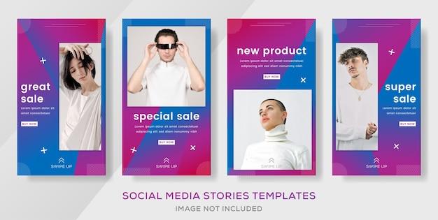 Storie di modelli di banner di vendita di moda moderna post con colore sfumato.