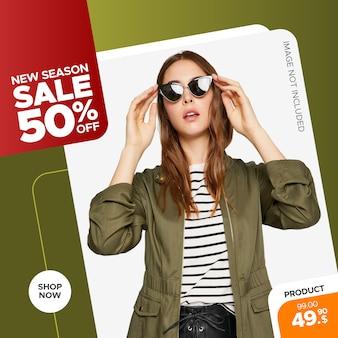 Banner di vendita di moda moderna per post web e instagram Vettore Premium