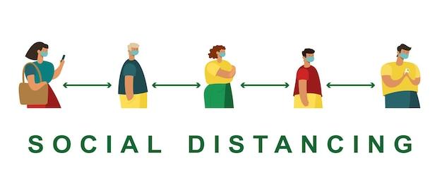 Gente moderna alla moda in linea. concetto di distanza sociale.