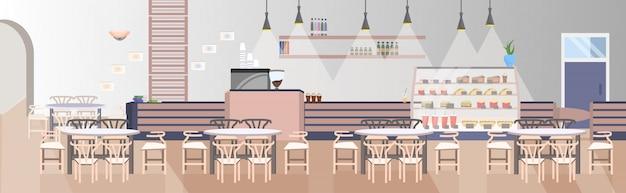 Il moderno ristorante fast food con tavoli e sedie vuoti non svuota il caffè espresso interno piatto orizzontale