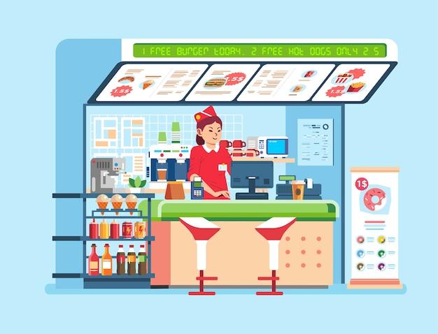 Stand di fast food moderno che vende cibo e bevande, con donne in piedi al banco
