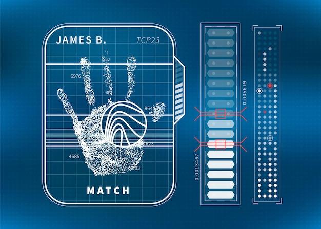 Scansione moderna delle impronte digitali con palmo umano e grafici, concetto futuristico di interfaccia utente tecnologica su blu