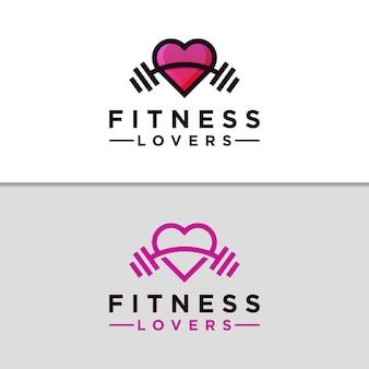 Modello moderno di progettazione di logo della palestra di amore di forma fisica