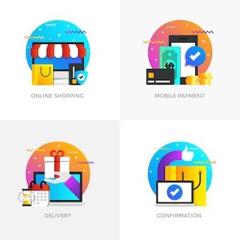 Icone di concetti di colore piatto moderno progettato per lo shopping online