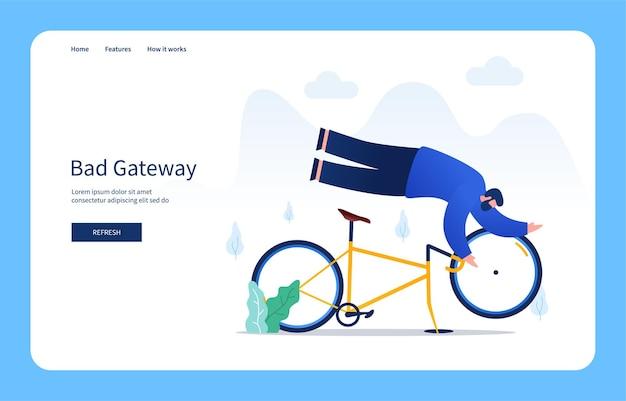Moderno concetto di design piatto uomo che cade dall'errore del server interno della bicicletta stato vuoto