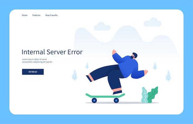 Moderno concetto di design piatto uomo che cade dallo skateboard errore interno del server stato vuoto