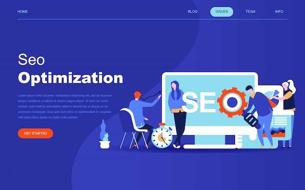 Moderno concetto di design piatto di analisi seo