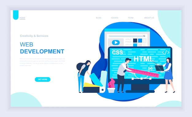 Moderno concetto di design piatto di sviluppo web