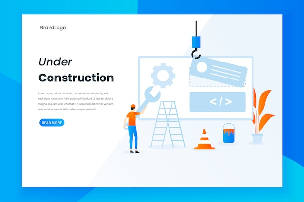 Pagina di destinazione in costruzione design piatto moderno