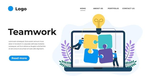 Illustrazione di design piatto moderno del lavoro di squadra. può essere utilizzato per sito web e sito web mobile o pagina di destinazione. illustrazione