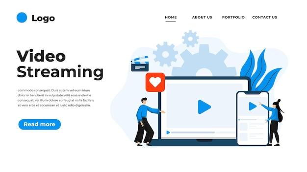 Illustrazione di design piatto moderno di streaming video.