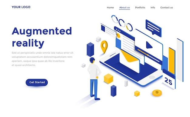 Concetto isometrico moderno design piatto di realtà aumentata per sito web e sito web mobile. modello di pagina di destinazione. facile da modificare e personalizzare. illustrazione vettoriale