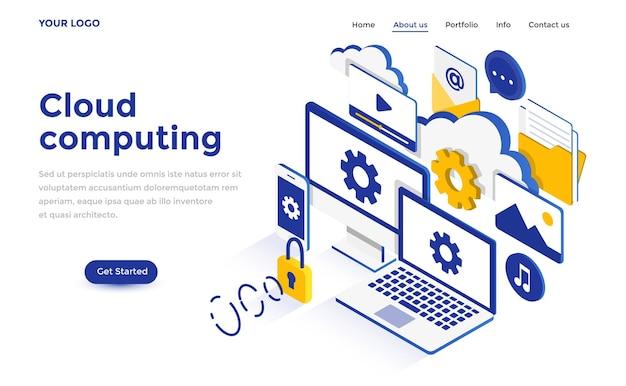 Concetto isometrico moderno design piatto di cloud computing per sito web e sito web mobile. modello di pagina di destinazione. facile da modificare e personalizzare. illustrazione vettoriale