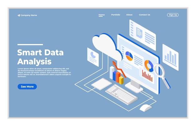 Moderno concetto isometrico di design piatto di analisi dei dati per il sito web e la pagina di destinazione del sito web mobile